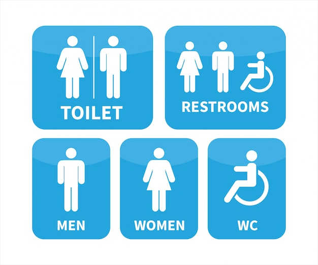 Set of toilet signs. Premium Vector