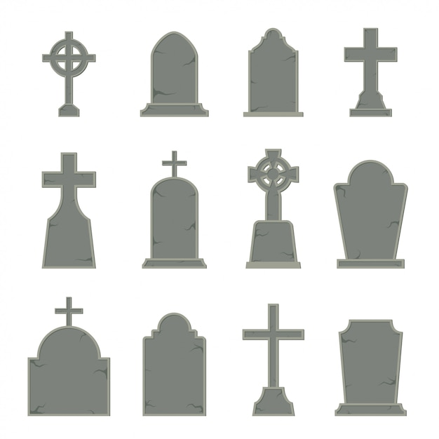 Set of tombstone shape on white background, Premium Vector