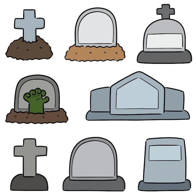 Set of tombstone Premium Vector