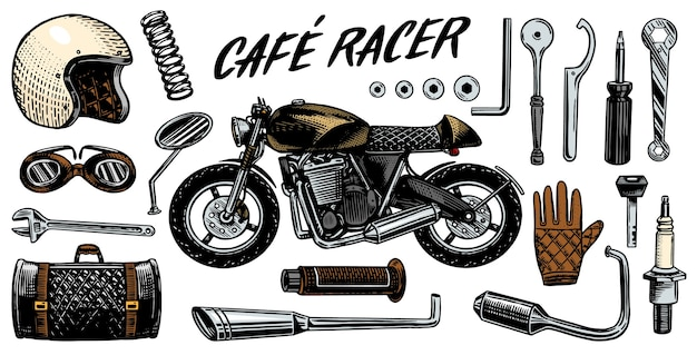 Set of tools for the cafe racer Premium Vector