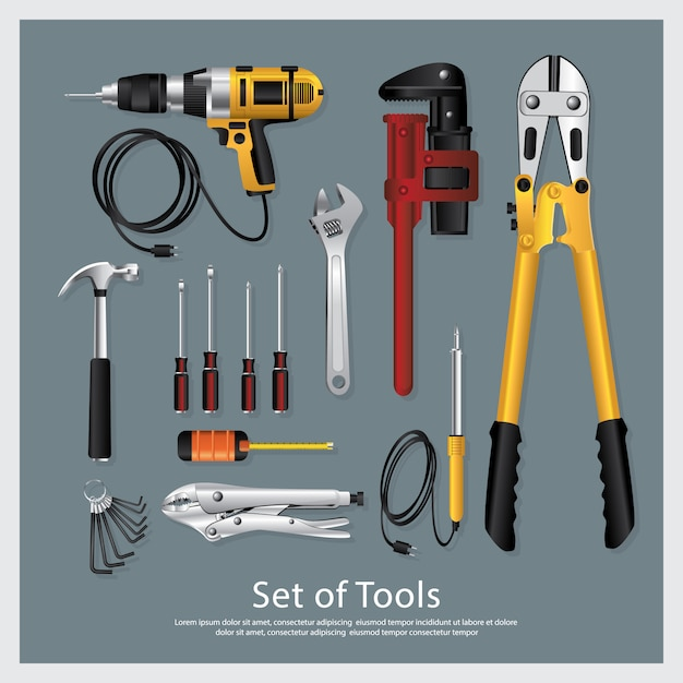 Set of tools collection vector illustration Premium Vector