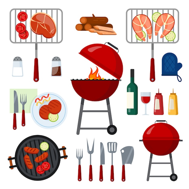 Set of tools food and drinks for barbecue party on white. Premium Vector