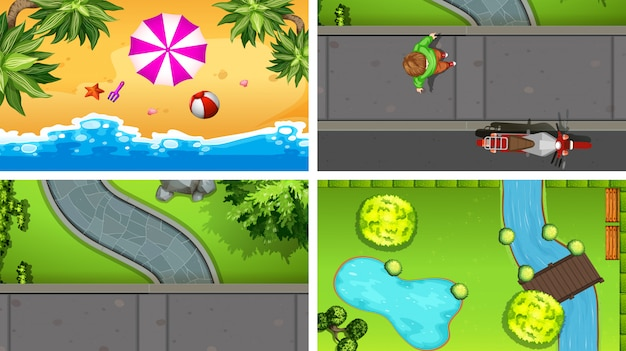 Set of top view aerial scenes in nature and outdoors Free Vector