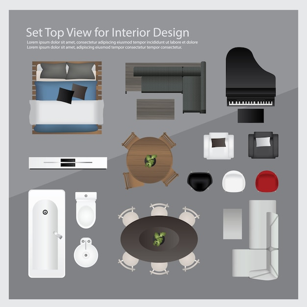 Interior Design Free Icons: Set Top View For Interior Design. Isolated Illustration