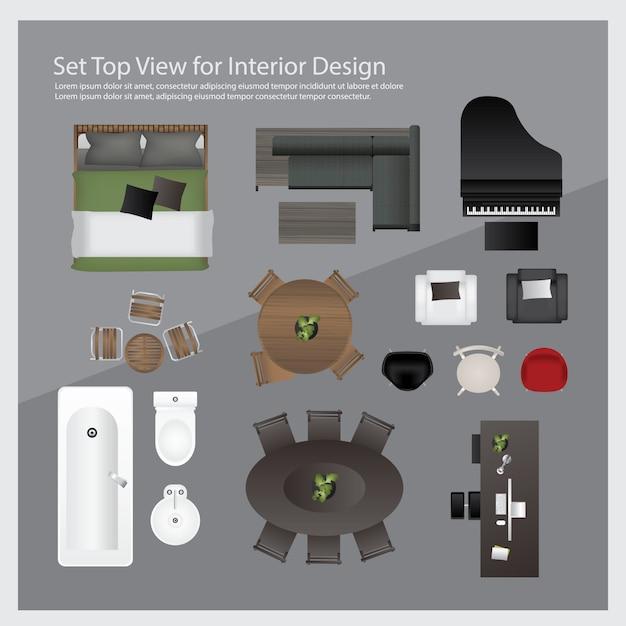Set top view for interior design. isolated illustration Premium Vector