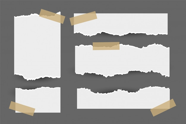 Set of torn ripped paper sheets with sticker Free Vector