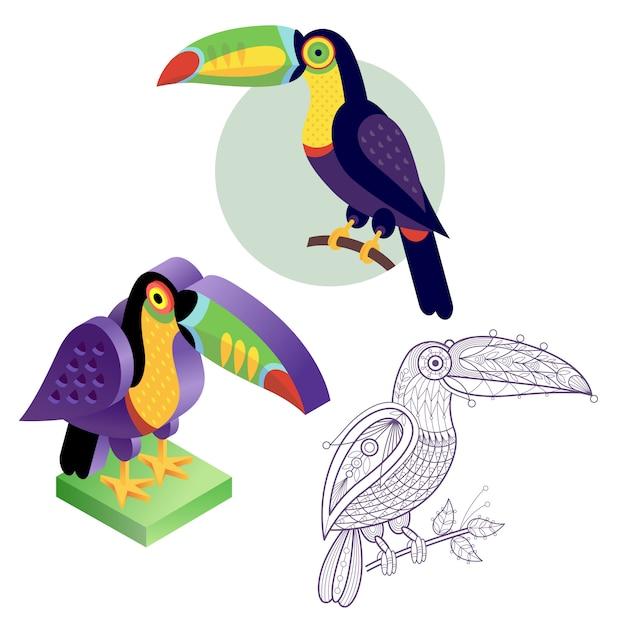 Set toucan image in different styles. Premium Vector