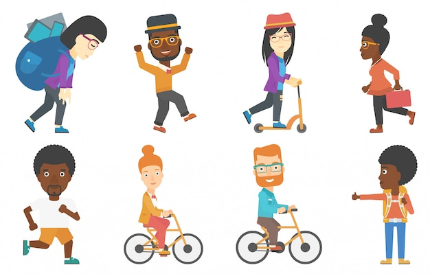 Set of tourists business and sport characters. Premium Vector