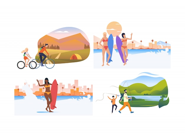 Set of tourists relaxing on vacation Free Vector