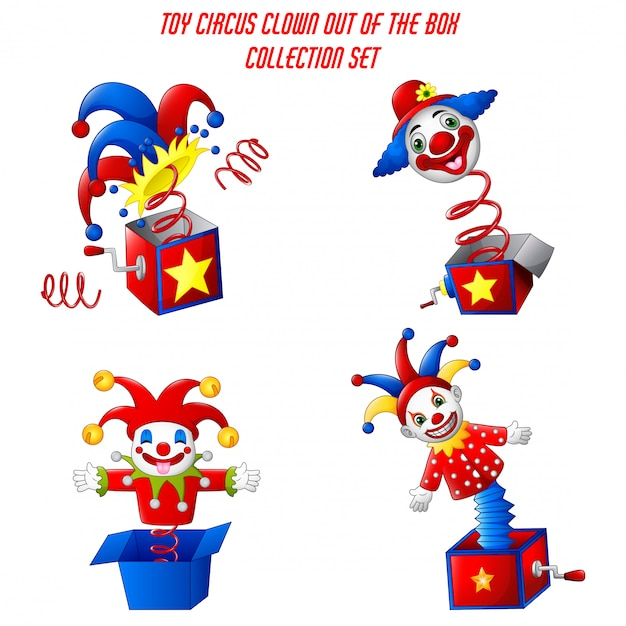 Set of toy circus clown out of a box Premium Vector