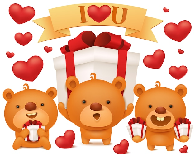 Set of toy emoji teddy bears with gift boxes. birthday collection Premium Vector