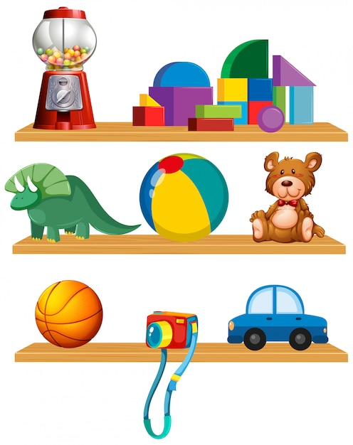 Set of toys in the shelf Free Vector