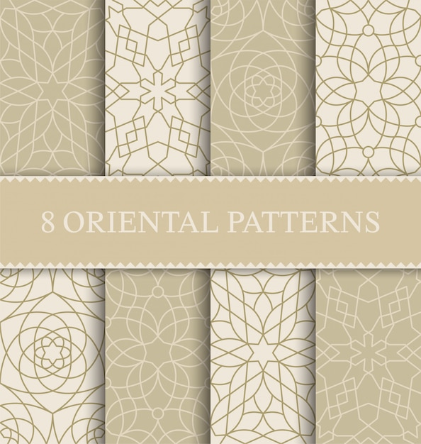 Set of traditional arabian seamless pattern, Premium Vector
