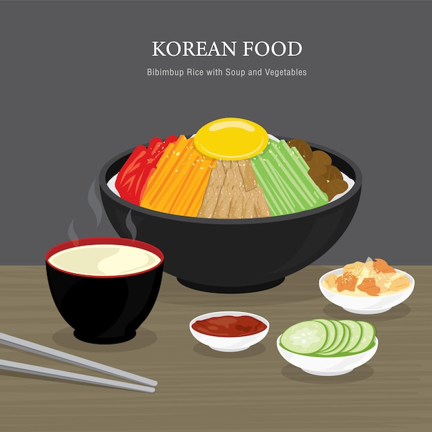 Set of traditional korean food, bibimbap rice with soup and vegetables salad. cartoon illustration Premium Vector