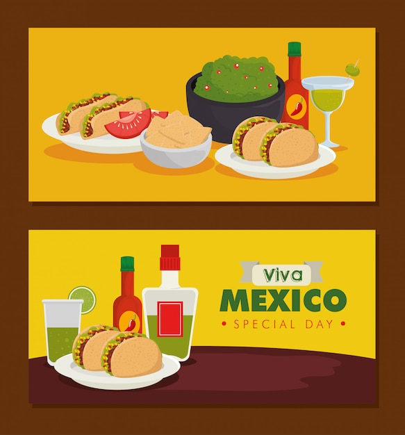 Set traditional mexican food to celebration event banner Free Vector
