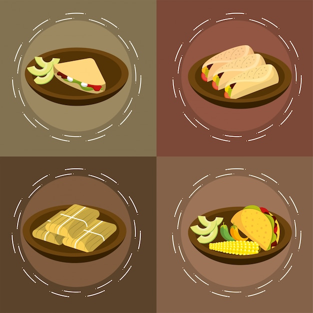 Set traditional spicy mexican food Premium Vector