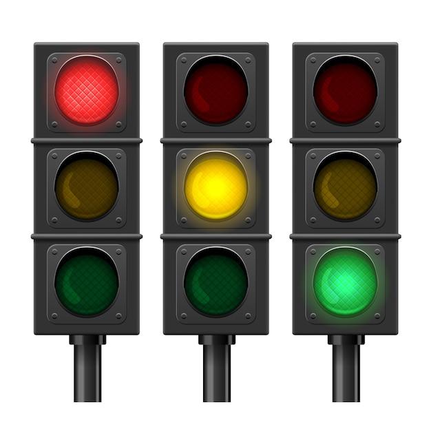 Set di semafori isolati Vettore gratuito