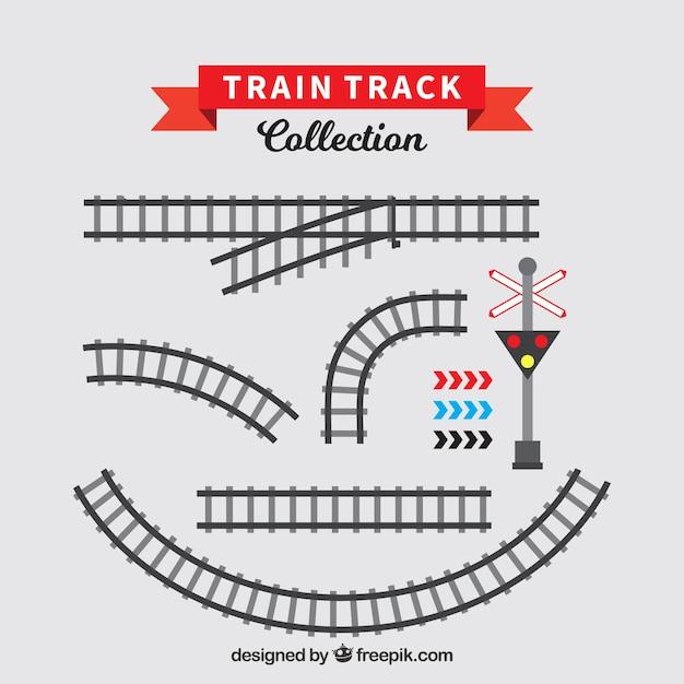 Set of train tracks in flat design Free Vector