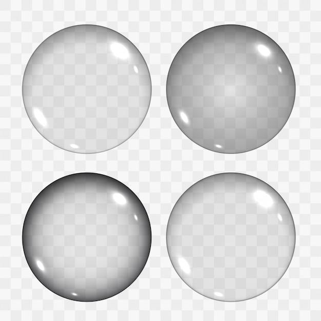 Set of translucent empty glass spheres or circles Premium Vector