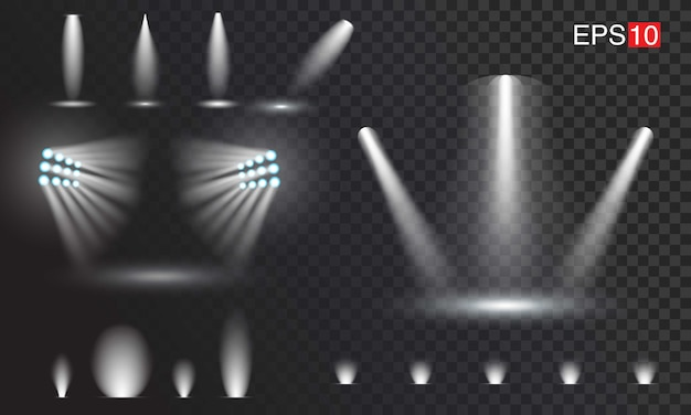 Set of transparant spotlights. easy to use Premium Vector