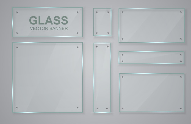 Set of transparent banners made of glass. glass frame. Premium Vector