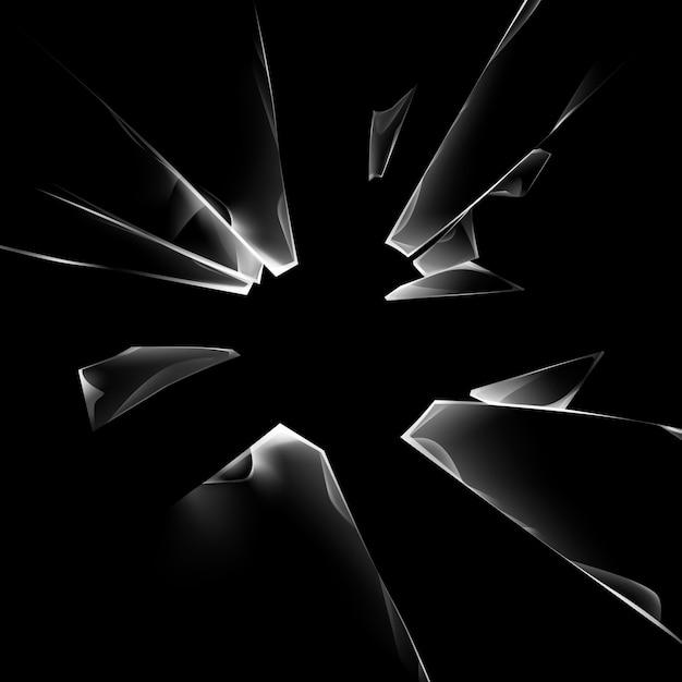 Set of transparent broken glass pieces Premium Vector