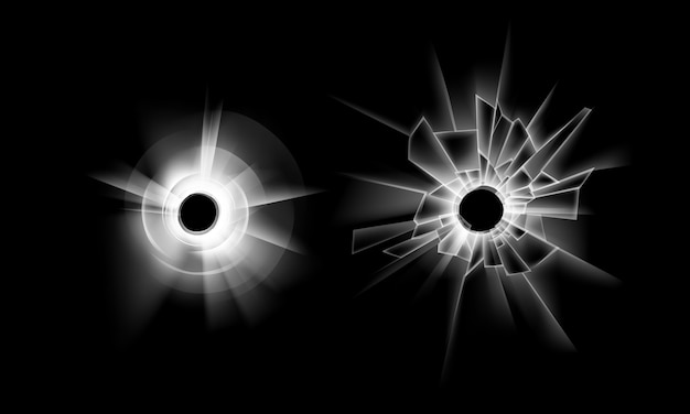 Set of transparent crack broken glass window with two bullet holes close up isolated on dark black background Premium Vector