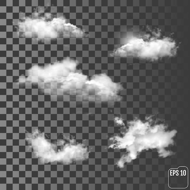 Set of transparent different clouds Premium Vector
