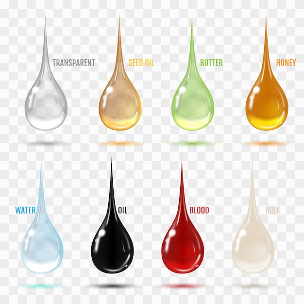 Set of transparent drops in gray colors. Premium Vector
