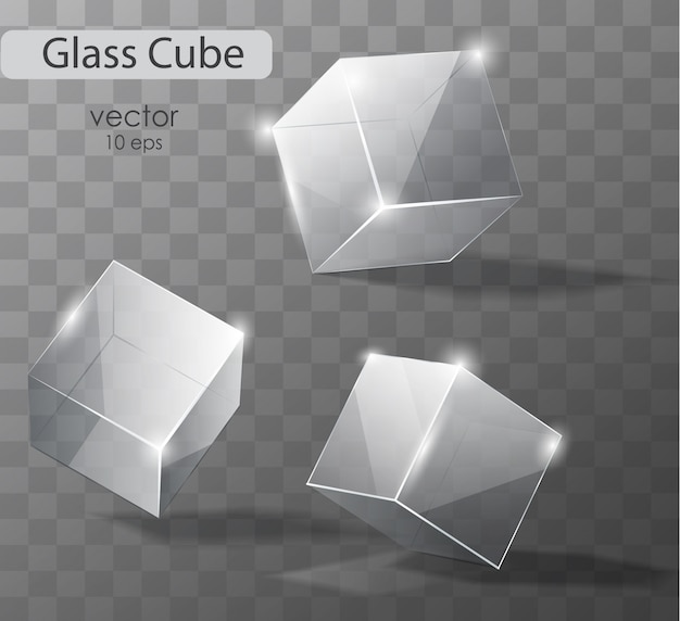 Set on a transparent glass cubes in different angles. realistic  object. Premium Vector