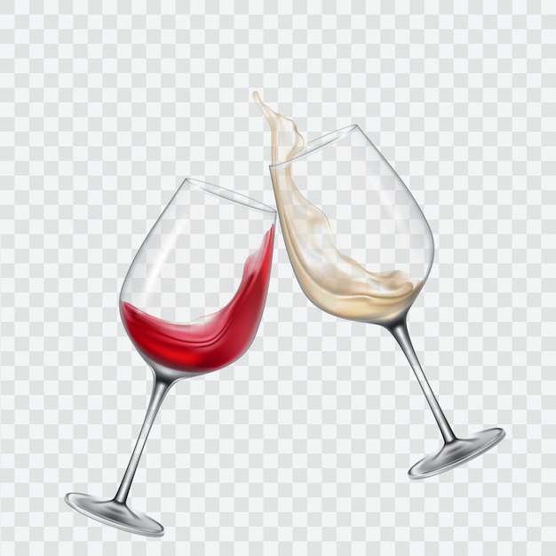 Set transparent glasses with white and red wine Free Vector