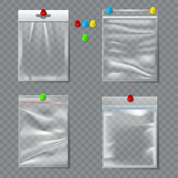 Set of transparent plastic packaging with pins Premium Vector