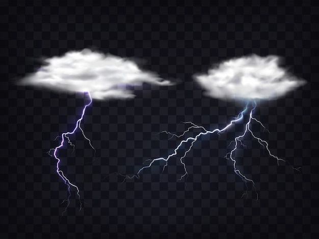 Set of transparent white clouds with lightning charge. Free Vector