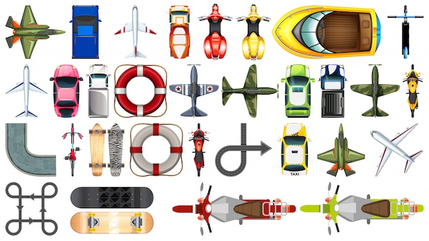 Set of transportation aerial view Free Vector