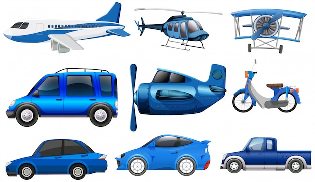 Set of transportation vehicle Free Vector