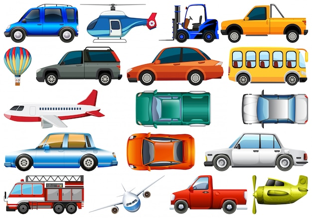 Set of transportation vehicle Free Vector