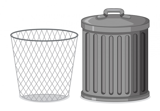 Set of trash bin Free Vector
