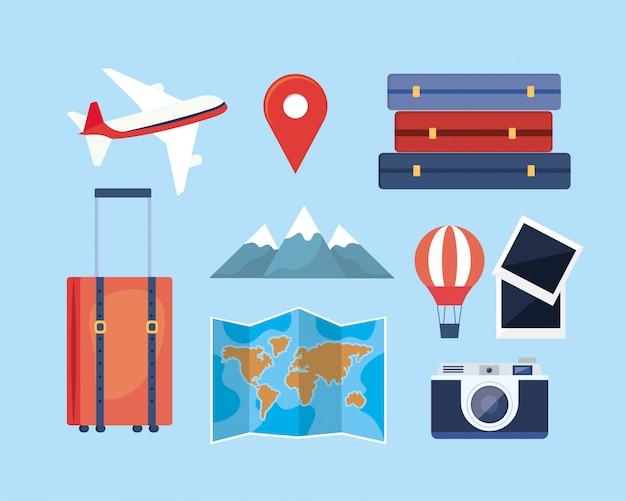 Set of travel adventure with location and destination journey Premium Vector