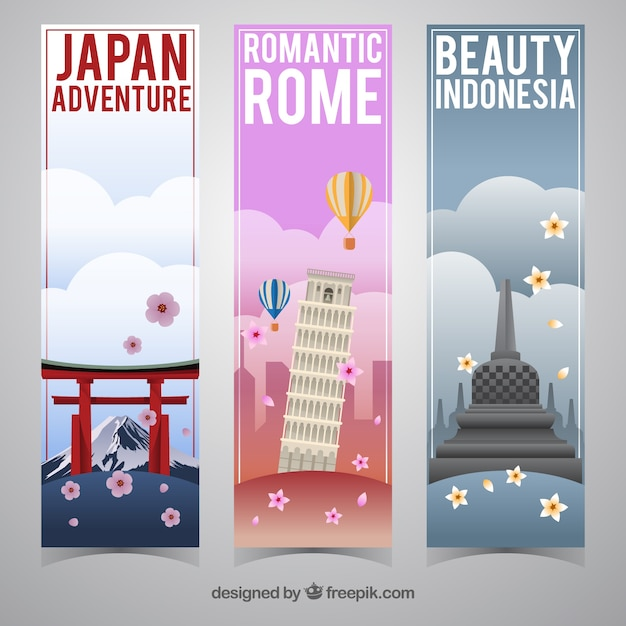 Set of travel banners in different countries Free Vector