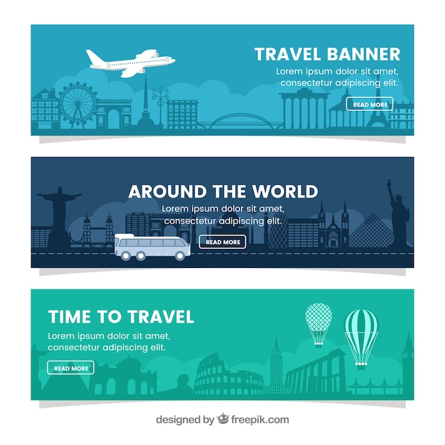 Set of travel banners in flat design Free Vector