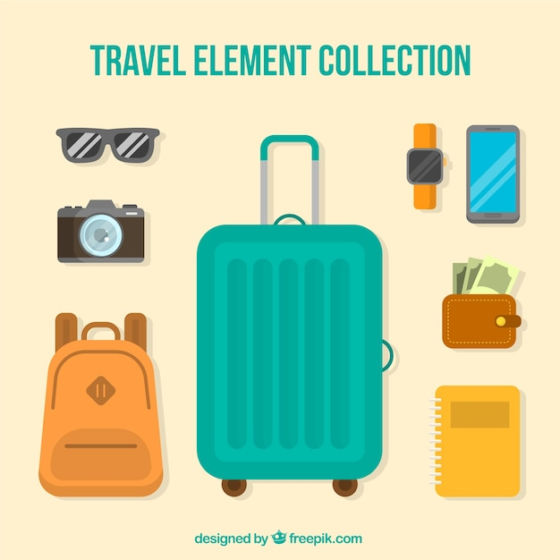 Set di elementi di viaggio in stile piatto Vettore gratuito