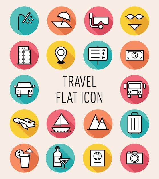 Set of travel icon Premium Vector