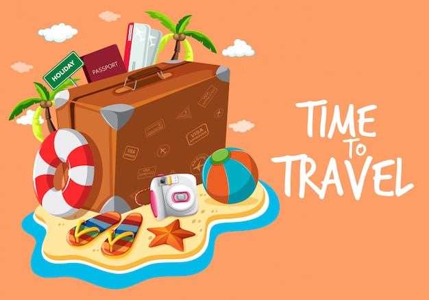Set of travel object template Premium Vector
