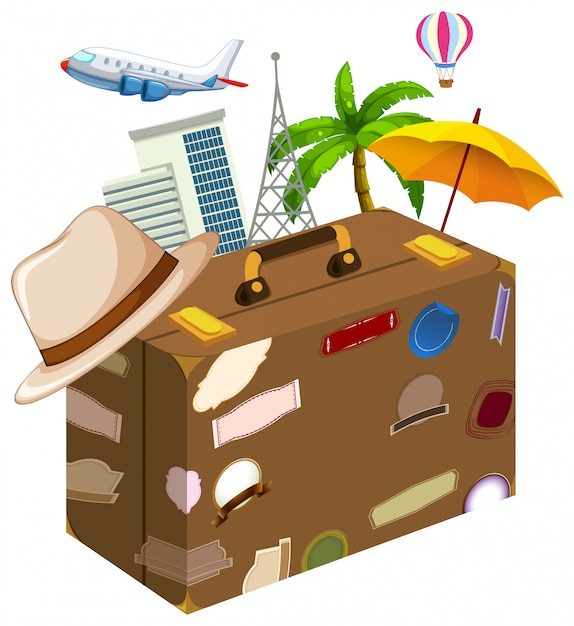 Set of travel objects Free Vector