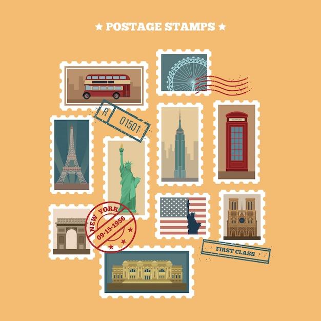 Set of travel postage stamps: usa, new york, london, paris Premium Vector