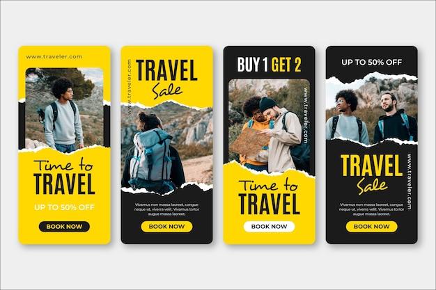 Set di storie sui social media di vendita di viaggi Vettore gratuito
