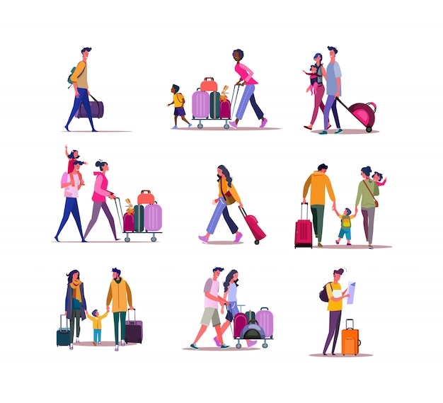 Set of travelers walking with luggage Free Vector