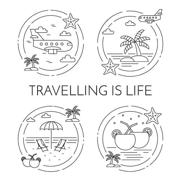 Set of traveling horizontal banners with palm on island, airplane, cocktails, beach in circles. Premium Vector