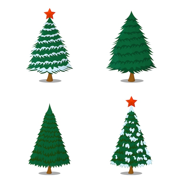 Set of tree xmas christmas isolated. cartoon style. vector illustration for christmas day. Premium Vector