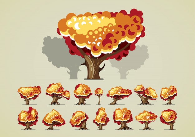 Set of trees in autumn for video games Premium Vector